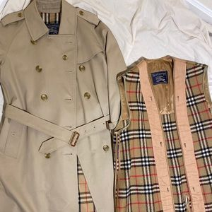Burberry Vtg Trench Coat Belted w/Wool Insert 10